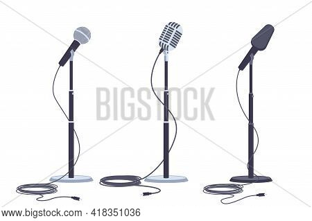 Microphones On Stand Vector Flat Set Of Modern And Retro Music Audio Equipment Isolated On White Bac