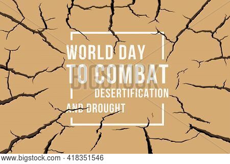 World Day To Combat Desertification And Drought Banner With Text In White Frame On Brown Parched Dro