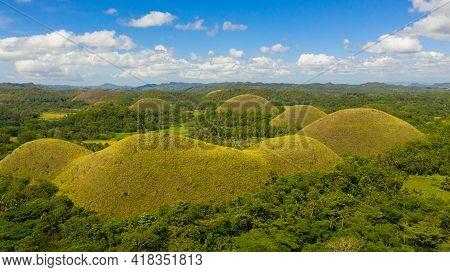 Famous Chocolate Hills Natural Landmark, Bohol Island, Philippines. Hills Among Farmlands.