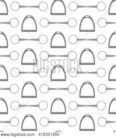 Vector Seamless Pattern Of Flat Horse Equestrian Bit Snaffle And Stirrup Isolated On White Backgroun