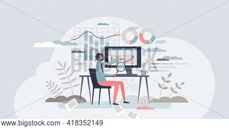 Business Analyst And Finance Management Or Chart Review Tiny Person Concept. Company Revenue, Profit