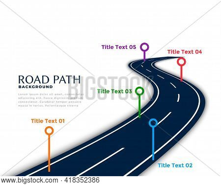 Winding Road Infographic Template With Milestone Points Design Vector Illustration