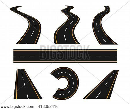 Tracks And Winding Road Curve Pathway Set Design Vector Illustration