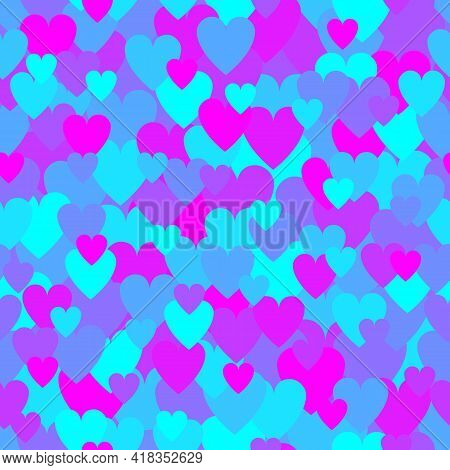 Neon Ultra Violet Heart Pattern. Camouflage Vector Texture For Valentines Day