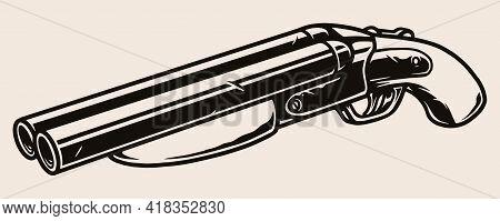 Gangster Short Barreled Shotgun Concept In Vintage Monochrome Style Isolated Vector Illustration
