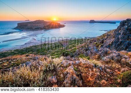Sunset over Balos beach in Crete, Greece.