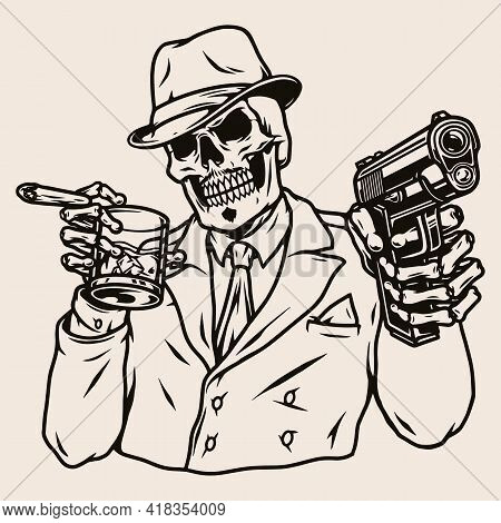Mafia Boss Skeleton In Suit And Fedora Hat With Cigar Glass Of Whiskey And Gun In Vintage Monochrome