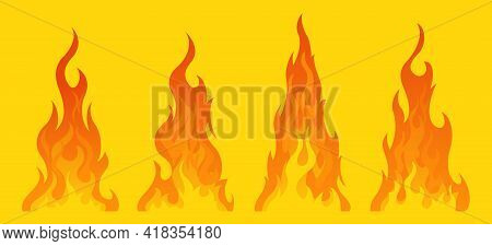 4 Bonfire Icon With Flat Bottom Design Element On Yellow Background