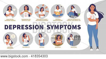 Depression Signs, Symptoms Vector Infographic, Medical Poster. Anxiety, Stress, Anger, Suicide Thoug