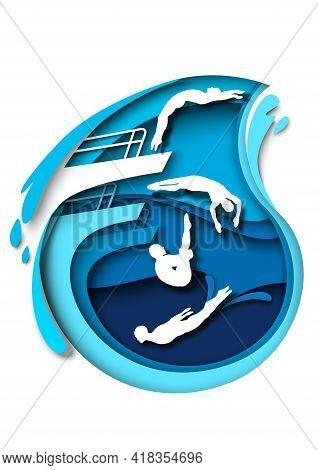 Springboard And Platform Diving. Paper Cut Swimmer, Diver Athlete Silhouettes, Vector Illustration.