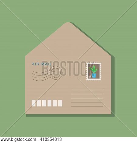 Beige Craft Opened Envelope, Postage Stamp With Green Plant In Blue Pot On Brown Background. With Sh