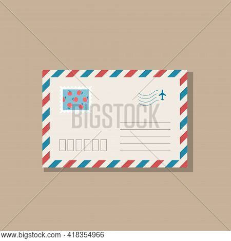 Beige Envelope With Frame Of Blue And Red Stripes. Postage Stamp With Red Apples On Blue Background.