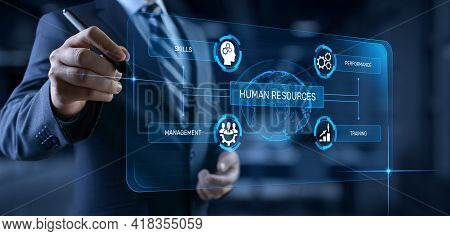 Hr Human Resources Management Recruitment Headhunting. Businessman Pressing Button On Screen