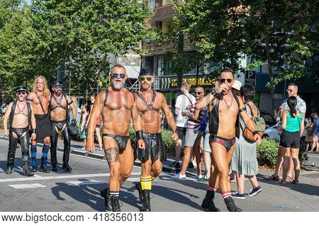 Barcelona - Spain. June 29, 2020: A Group Of Mature Gay Men In Fetish Gears Consisting Of Leather Jo