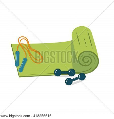 Mat With Dumbbells And Jump Rope For Sports Fitness And Tourism Vector Illustration Isolated On Whit