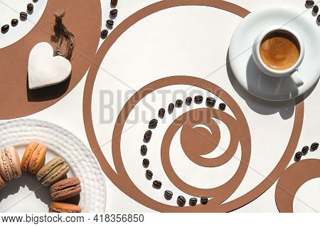 Coffee Cup, Fibonacci Sequence Circle With Coffee Beans. Espresso, Tasty Perfection. Heart Shape. Go