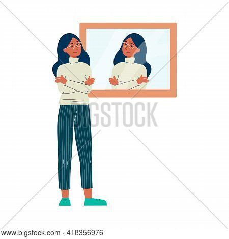 Happy Woman Smiling In The Mirror - Confident Cartoon Character