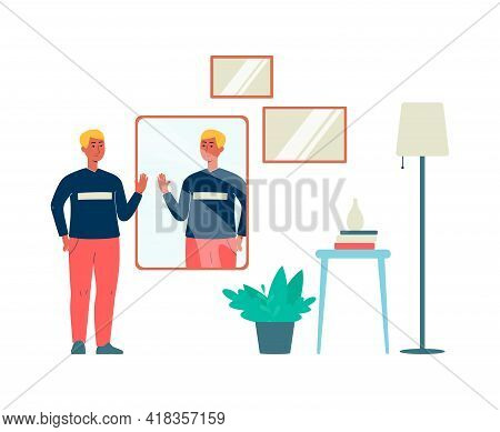 Man Evaluating His Appearance In The Mirror, Flat Vector Illustration Isolated.