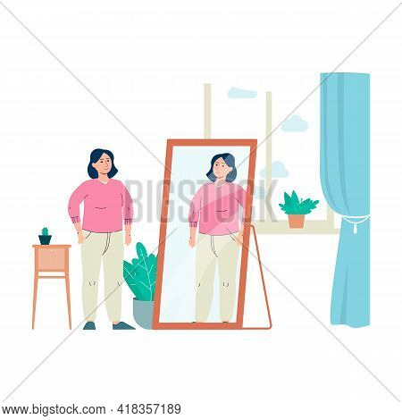 Cartoon Woman Looking In Mirror And Smiling - Confident Girl