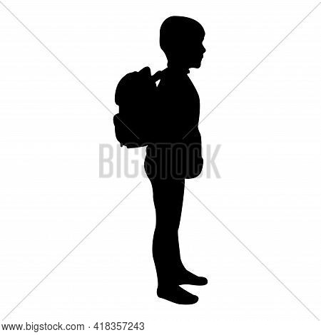 Silhouette Schoolboy With Backpack Pupil Stand Carrying On Back Going To School Concept Come Back To