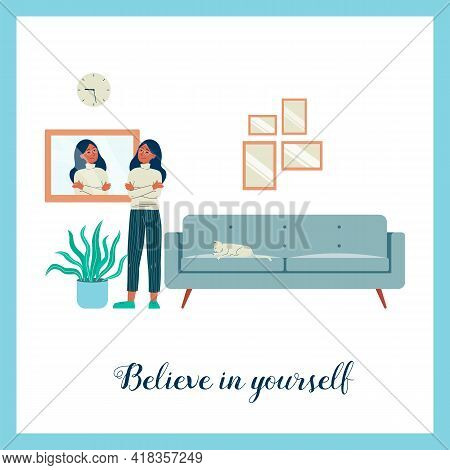 Poster With Motivational Slogan And Confident Woman, Flat Vector Illustration.