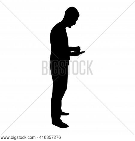 Silhouette Man Holding Smartphone Phone Playing Tablet Male Using Communication Tool Idea Looking Ph