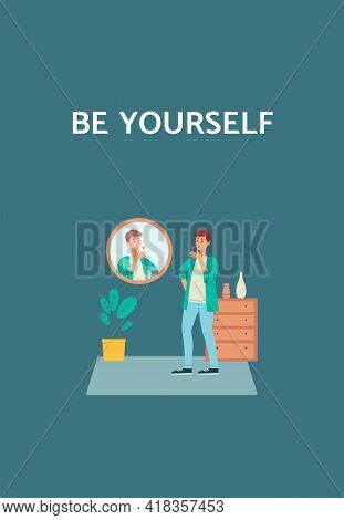 Poster On Self-acceptance With Motivational Slogan, Flat Vector Illustration.