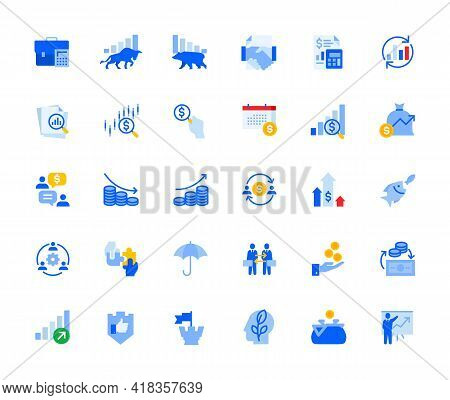 Money Trading And Investment Icons Set For Personal And Business Use. Vector Illustration Icons For