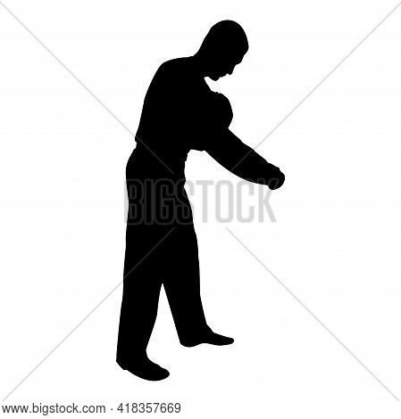 Silhouette Man Dressing Sweater Clothes Concept Put On His Pullover Black Color Vector Illustration