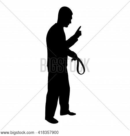 Silhouette Angry Man With Belt In Hand For Punishment Warns Showing Index Finger Violence In Family