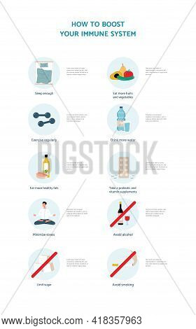 Boosting Immune System And Health Promotion Measures, Flat Vector Illustration.