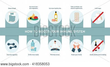 Advices To Boost Immune System And Stay Healthy, Flat Vector Illustration.