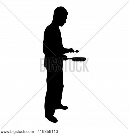 Silhouette Man Holds Frying Pan Spoon Chef Holding Kitchen Utensil Professional Using Kitchen Staff