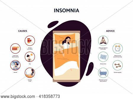 Insomnia - Reasons Of Sleeping Problems And Rules For Health Night Sleep.