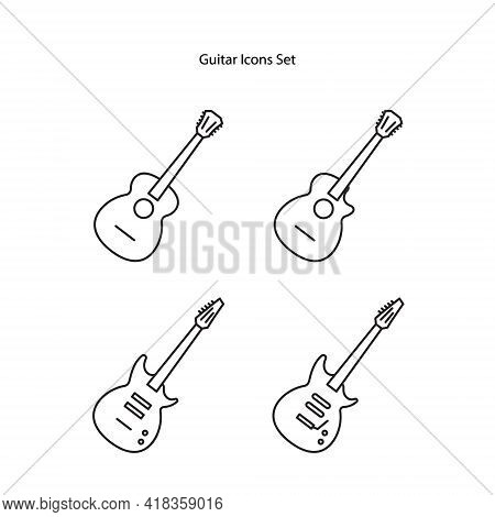 Guitar Icon Set Isolated On White Background From Music Collection. Guitar Icon Thin Line Outline Li