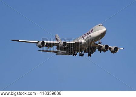 Findel - Luxembourg, July 8, 2018: Qatar Airways Cargo Boeing 747-8 Jumbo Jet A7-bga Cargo Plane Arr