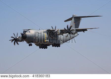 Fairford, United Kingdom - July 12, 2018: German Air Force Luftwaffe Airbus A400m Atlas 5410 Transpo