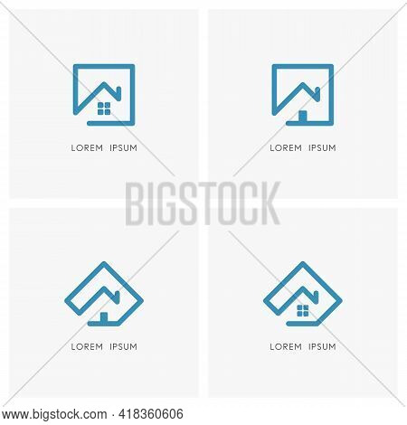 Home Outline Logo Set. House With Window, Front Door And Chimney On The Roof With Square And Pentago