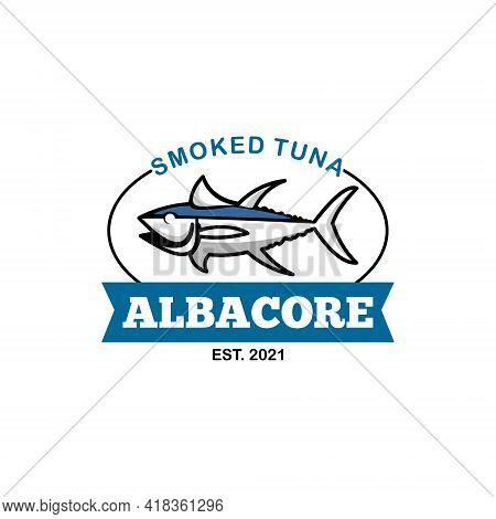 Smoked Albacore Tuna Fish Logo Premium Seafood Label Industry Or Restaurant Graphic Design Template