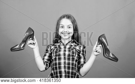 Wardrobe Research. Beauty And Fashion. Shoe Shop And Repair. Shoe Maker. Happy Childhood. Small Girl