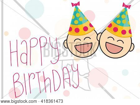 Happy birthday text over two face wearing party hat icons against santa claus on white background. birthday template background design concept
