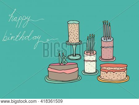 Happy birthday text and multiple birthday cakes against green background. birthday template background design concept