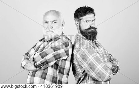 Bearded Friends. Hairdresser Salon. Barbershop Concept. Men Bearded Hipster Stand Back To Back. Fami
