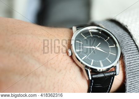 Businessman Wearing Luxury Wrist Watch With Leather Band, Closeup