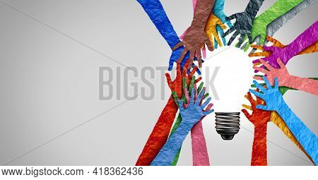 Diverse Society Thinking Together And Team Ideas As Group Of People Coming Together Joining Hands In