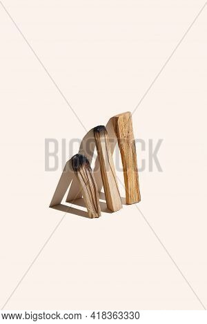 Palo Santo Holy Wood Sticks For Spiritual Meditate Practice. Concept Of Mental Health
