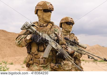 Two Special Forces Soldiers Close-up, Military Anti-terrorism Operations Concept