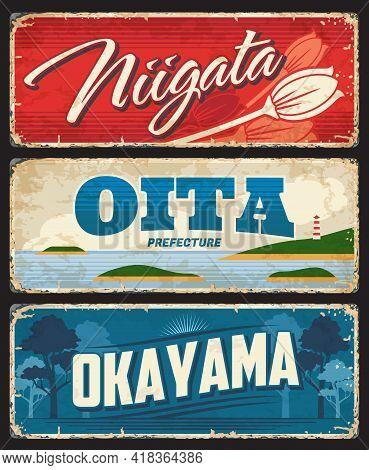 Niigata, Oita And Okayama Tin Signs, Japan Prefecture Vector Plates. Japanese Region Shabby Plates W