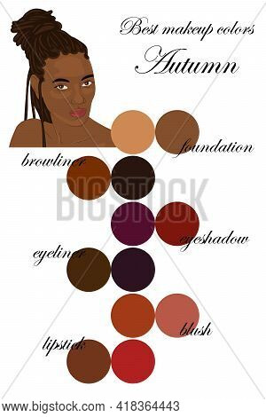 Best Makeup Colors For Autumn Type Of Appearance. Seasonal Color Analysis Palette. Face Of Beautiful