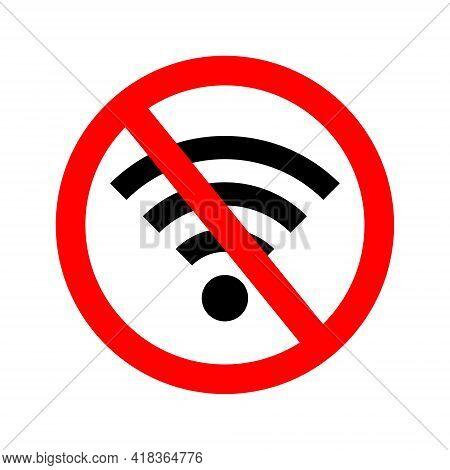Wifi Error. Wifi Signal Offline. Icon Of Off Internet. Bad Wireless Connection Of Internet. Symbol O